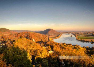 Donaustauf - Sonnenuntergang auf der Burg, Blick auf Donau, Walhalla und Scheuchenberg