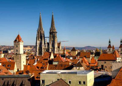 Blick auf die Dächer der Altstadt von Regensburg